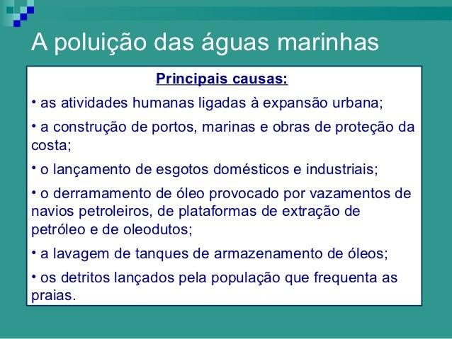 A poluição das águas marinhas                  Principais causas:• as atividades humanas ligadas à expansão urbana;• a con...