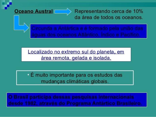 Oceano Austral           Representando cerca de 10%                           da área de todos os oceanos.         Circund...