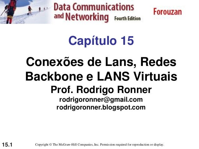 15.1 Capítulo 15 Conexões de Lans, Redes Backbone e LANS Virtuais Prof. Rodrigo Ronner rodrigoronner@gmail.com rodrigoronn...