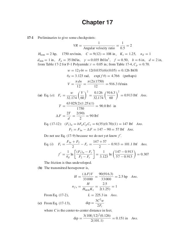 Chapter 17 17-1 Preliminaries to give some checkpoints: VR = 1 Angular velocity ratio = 1 0.5 = 2 Hnom = 2 hp, 1750 rev/mi...