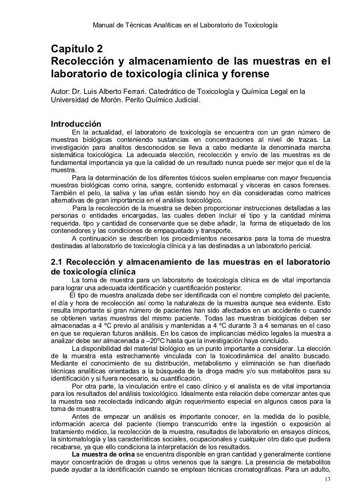 Manual de Técnicas Analíticas en el Laboratorio de ToxicologíaCapítulo 2Recolección y almacenamiento de las muestras en el...