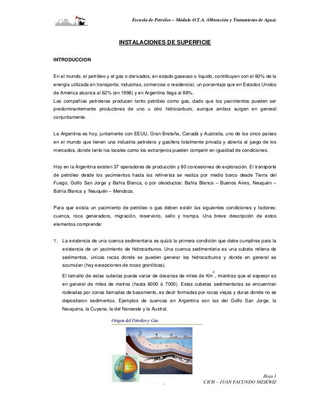 Escuela de Petróleo – Módulo O.T.A. (Obtención y Tratamiento de Agua)                              INSTALACIONES DE SUPERF...