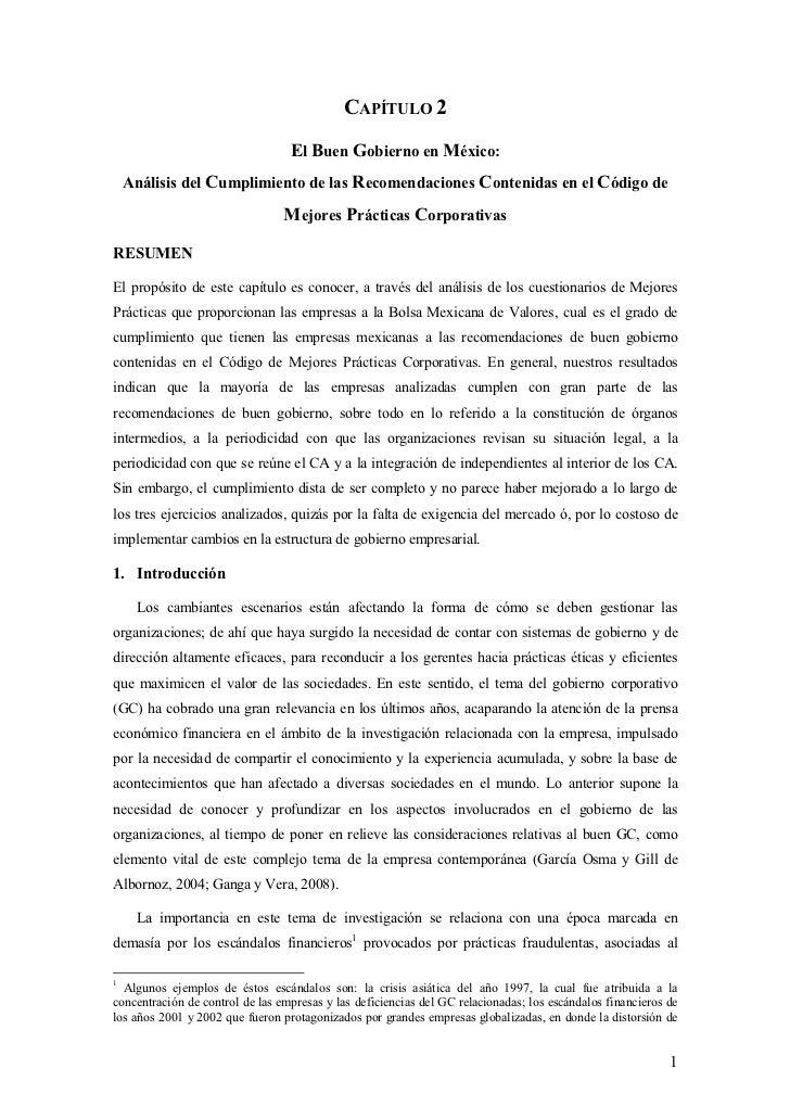 CAPÍTULO 2                                  El Buen Gobierno en México:    Análisis del Cumplimiento de las Recomendacione...