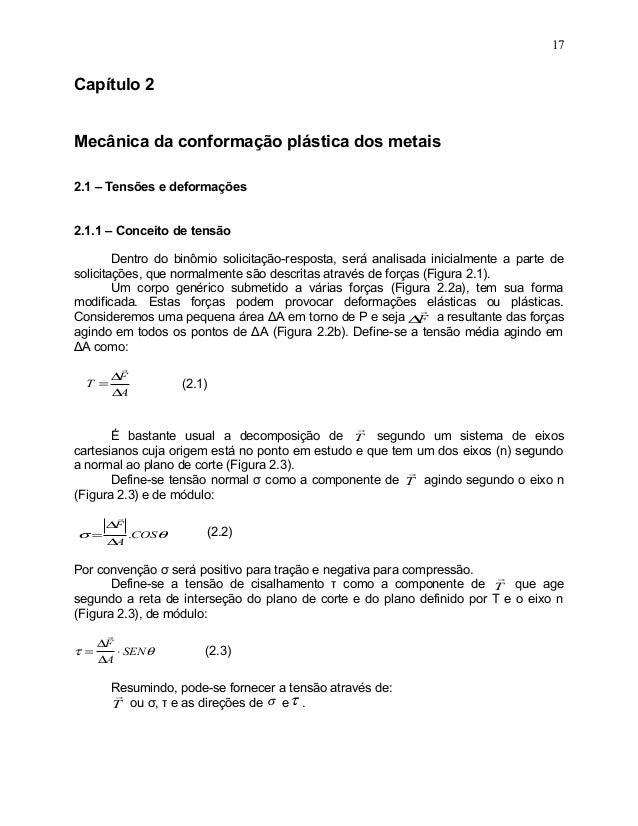 Capítulo 2Mecânica da conformação plástica dos metais2.1 – Tensões e deformações2.1.1 – Conceito de tensãoDentro do binômi...
