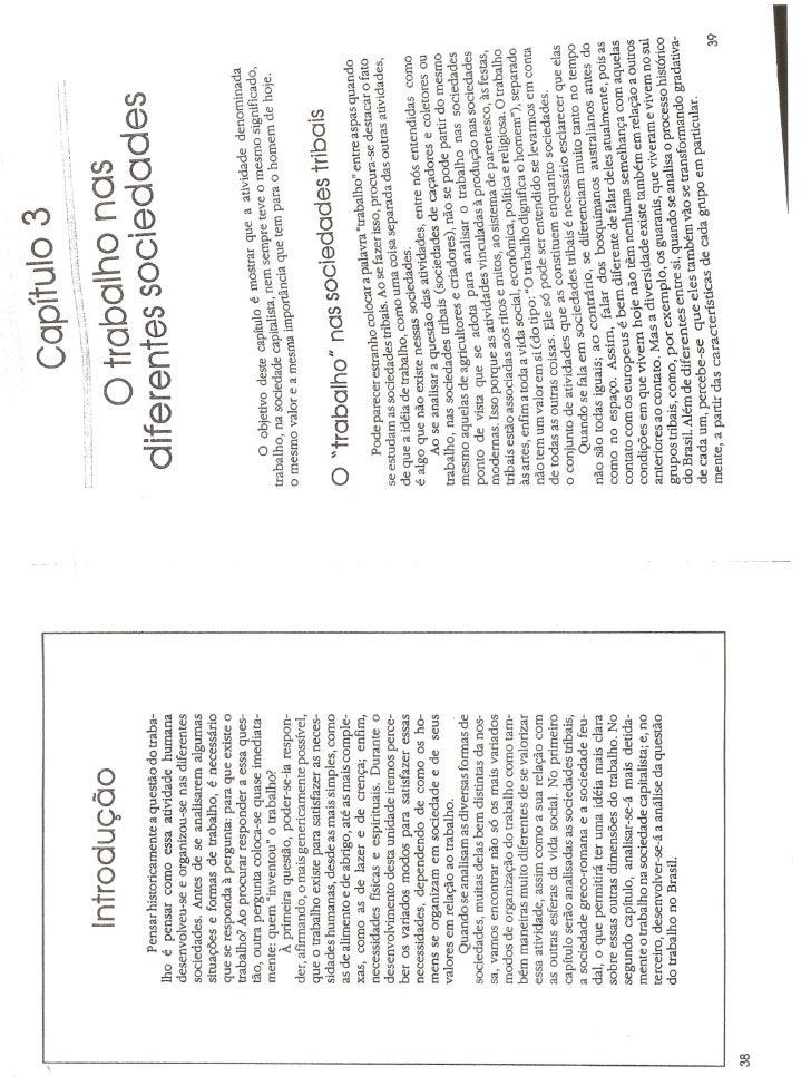 Capítulo 3 - O trabalho nas Diferentes Sociedade e Capítulo 4 - O trabalho na Sociedade Capitalista.