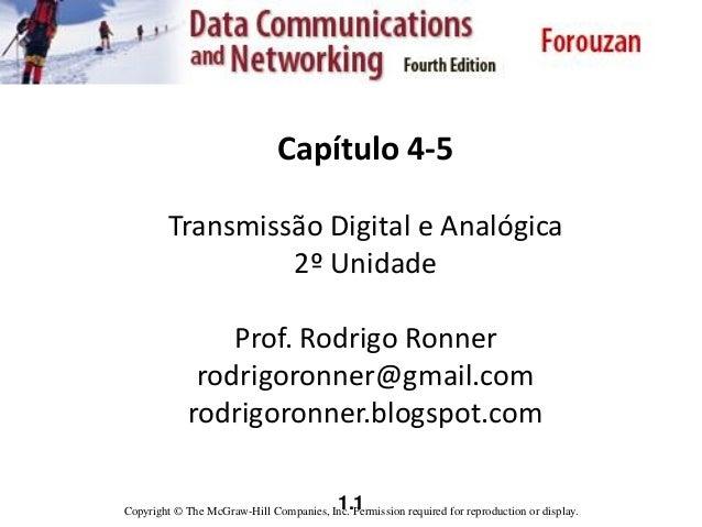 1.1 Capítulo 4-5 Transmissão Digital e Analógica 2º Unidade Prof. Rodrigo Ronner rodrigoronner@gmail.com rodrigoronner.blo...