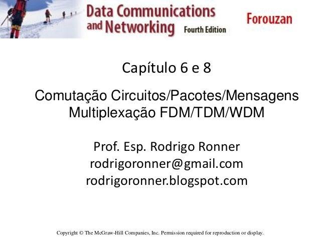 Capítulo 6 e 8 Comutação Circuitos/Pacotes/Mensagens Multiplexação FDM/TDM/WDM Prof. Esp. Rodrigo Ronner rodrigoronner@gma...