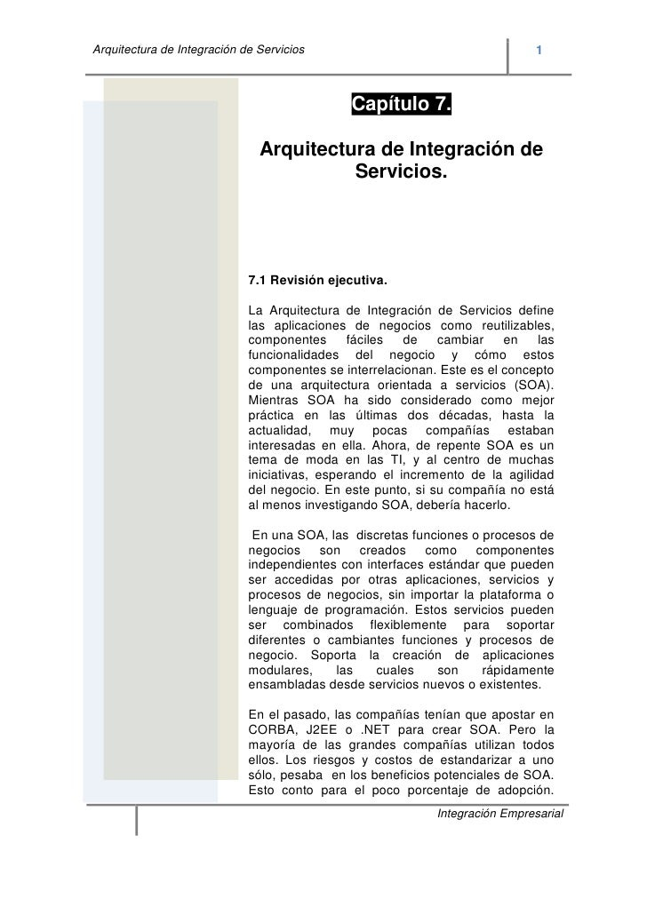 Arquitectura de Integración de Servicios                                      1                                           ...