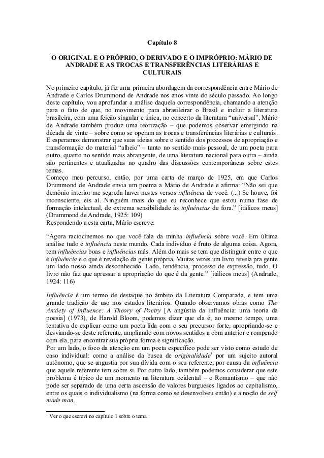 Capítulo 8 O ORIGINAL E O PRÓPRIO, O DERIVADO E O IMPRÓPRIO: MÁRIO DE ANDRADE E AS TROCAS E TRANSFERÊNCIAS LITERÁRIAS E CU...