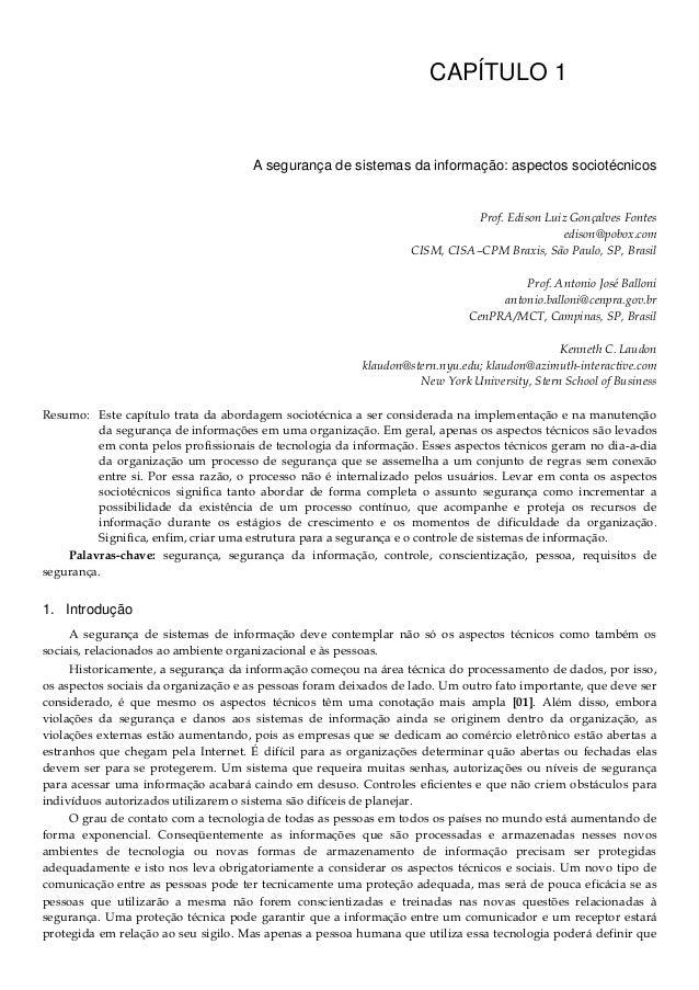 CAPÍTULO 1 A segurança de sistemas da informação: aspectos sociotécnicos Prof. Edison Luiz Gonçalves Fontes edison@pobox.c...