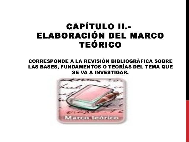 CAPÍTULO II.-ELABORACIÓN DEL MARCOTEÓRICOCORRESPONDE A LA REVISIÓN BIBLIOGRÁFICA SOBRELAS BASES, FUNDAMENTOS O TEORÍAS DEL...