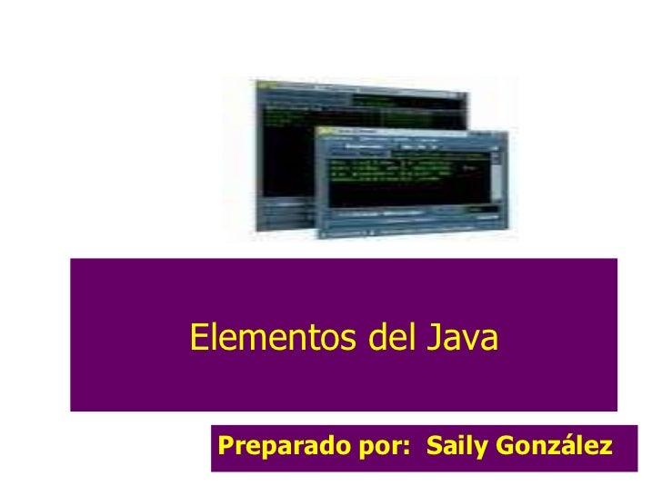 Elementos del Java Preparado por:  Saily González Lic. Saily González