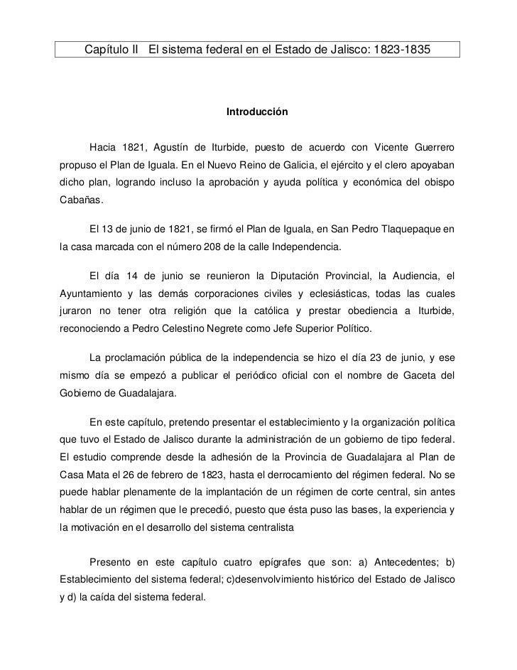 Capítulo II El sistema federal en el Estado de Jalisco: 1823-1835                                      Introducción      H...