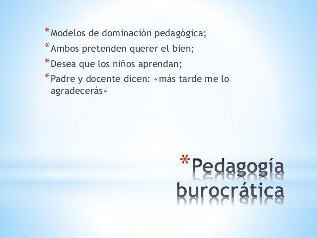 * *Modelos de dominación pedagógica; *Ambos pretenden querer el bien; *Desea que los niños aprendan; *Padre y docente dice...