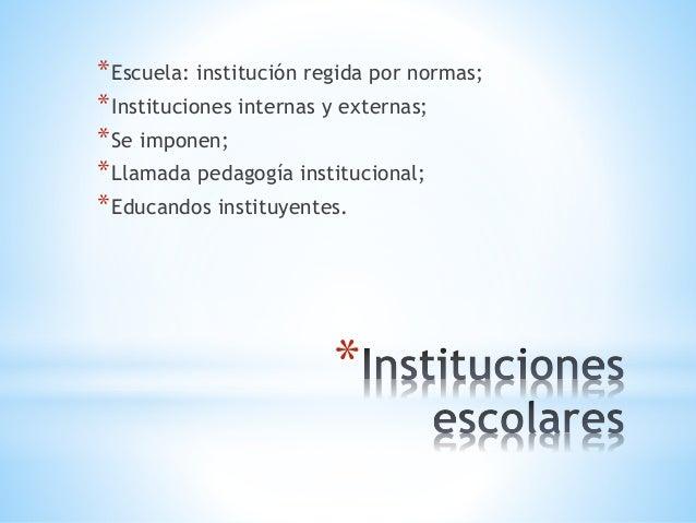 * *Escuela: institución regida por normas; *Instituciones internas y externas; *Se imponen; *Llamada pedagogía institucion...