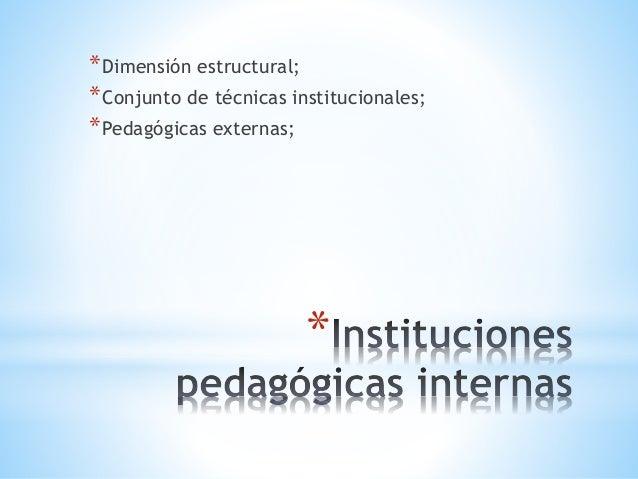 * *Dimensión estructural; *Conjunto de técnicas institucionales; *Pedagógicas externas;