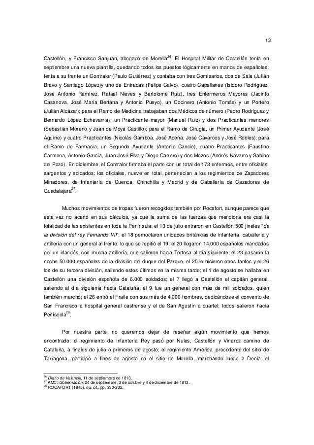 13  26  Castellón, y Francisco Sanjuán, abogado de Morella . El Hospital Militar de Castellón tenía en septiembre una nuev...
