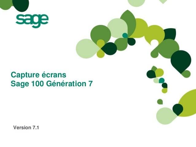 Capture écransSage 100 Génération 7Version 7.1