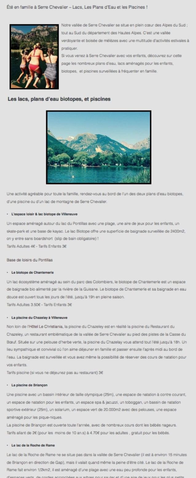 Lacs et piscines de Serre Chevalier