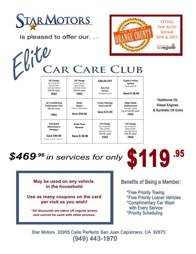 CarCareClub Elite $469 inservicesforonly.96 Maybeusedonanyvehicle inthehousehold Useasmanycouponsonthecard pervisitasyouwi...