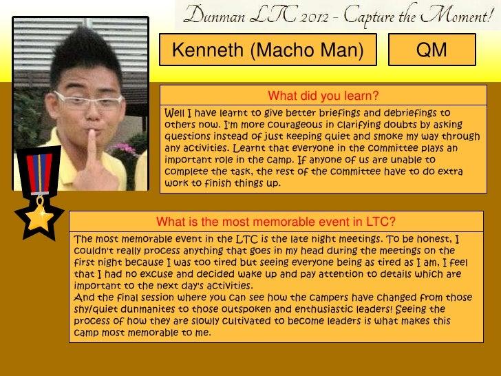 Kenneth (Macho Man)                                 QM                                         What did you learn?        ...