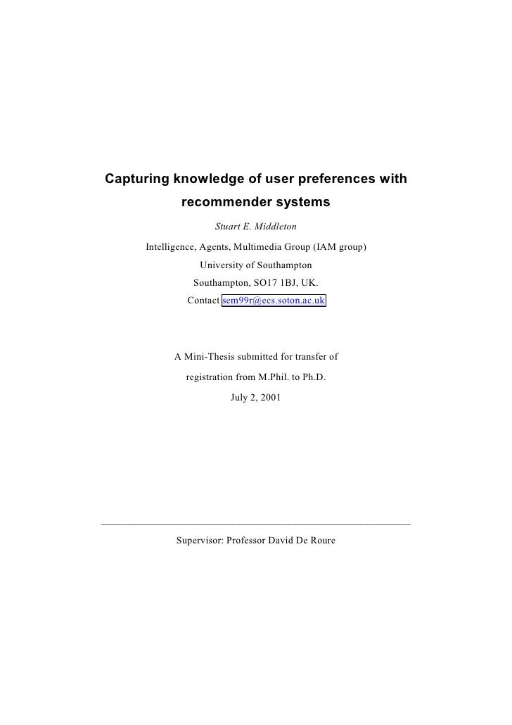 Capturing knowledge of user preferences with                 recommender systems                         Stuart E. Middlet...