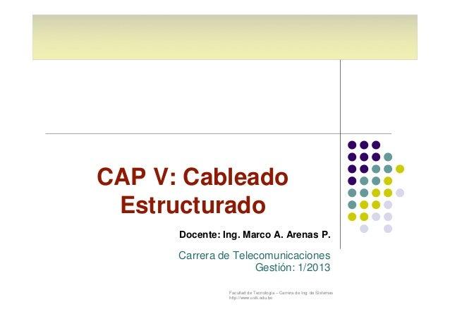 CAP V: Cableado  Estructurado  Docente: Ing. Marco A. Arenas P.  Carrera de Telecomunicaciones  Gestión: 1/2013  Facultad ...