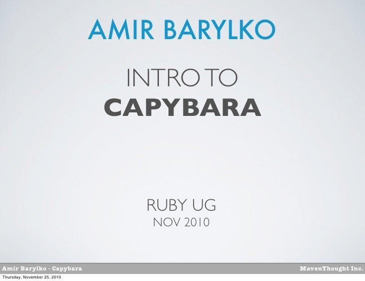 AMIR BARYLKO                               INTRO TO                              CAPYBARA                                 ...