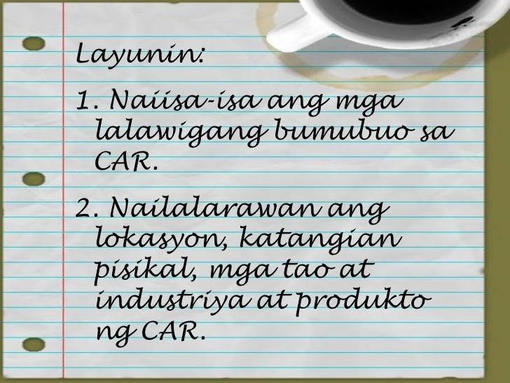 Cordillera Administrative Region (CAR) Slide 3
