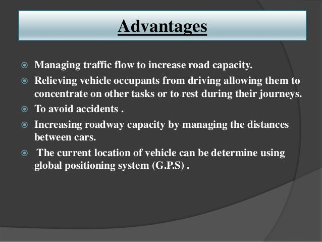 Advantages Of Self Driving Cars