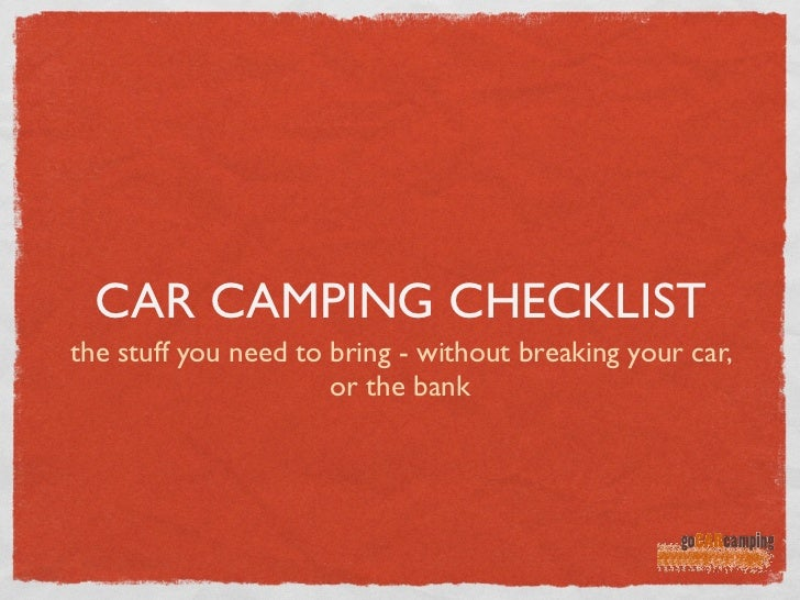 Car camping checklist for Housse tyvek camping car