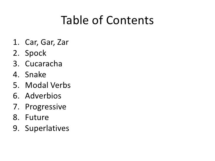 Grammar book table of contents1 car gar zar2 spock3 cucaracha4 snake5 malvernweather Image collections
