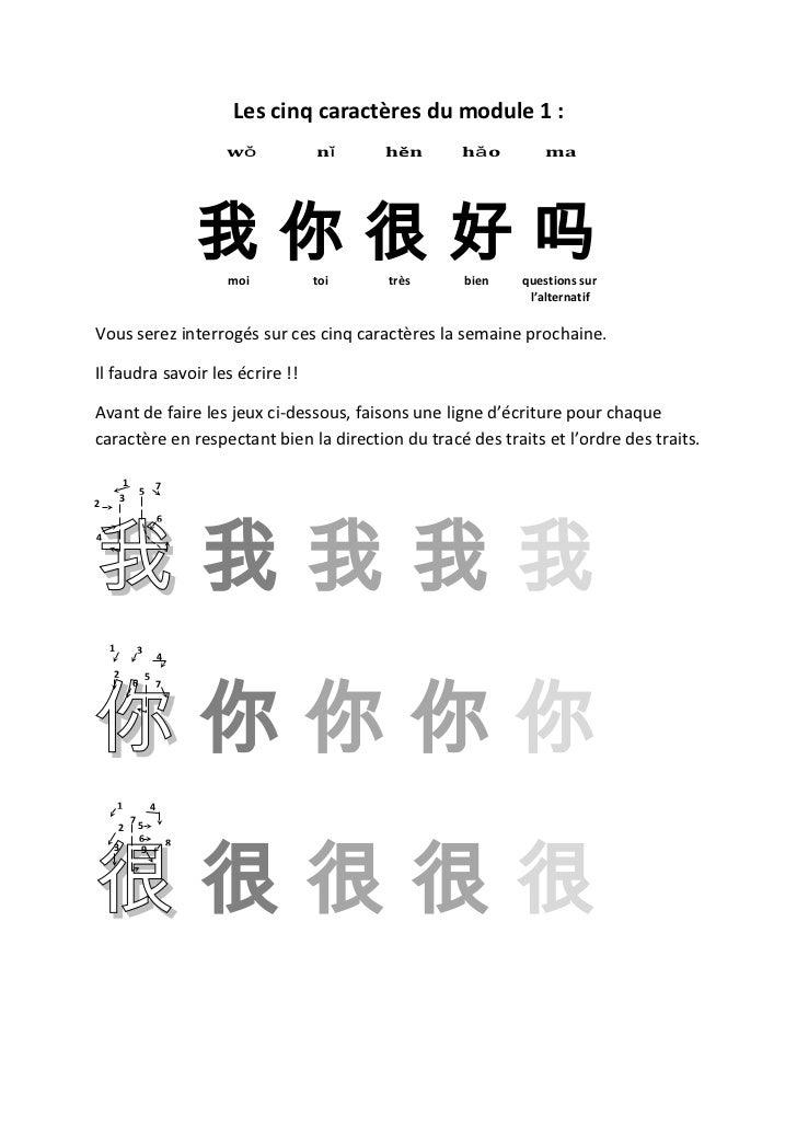 Les cinq caractères du module 1 :                                 wǒ      nǐ     hěn    hǎo        ma                     ...
