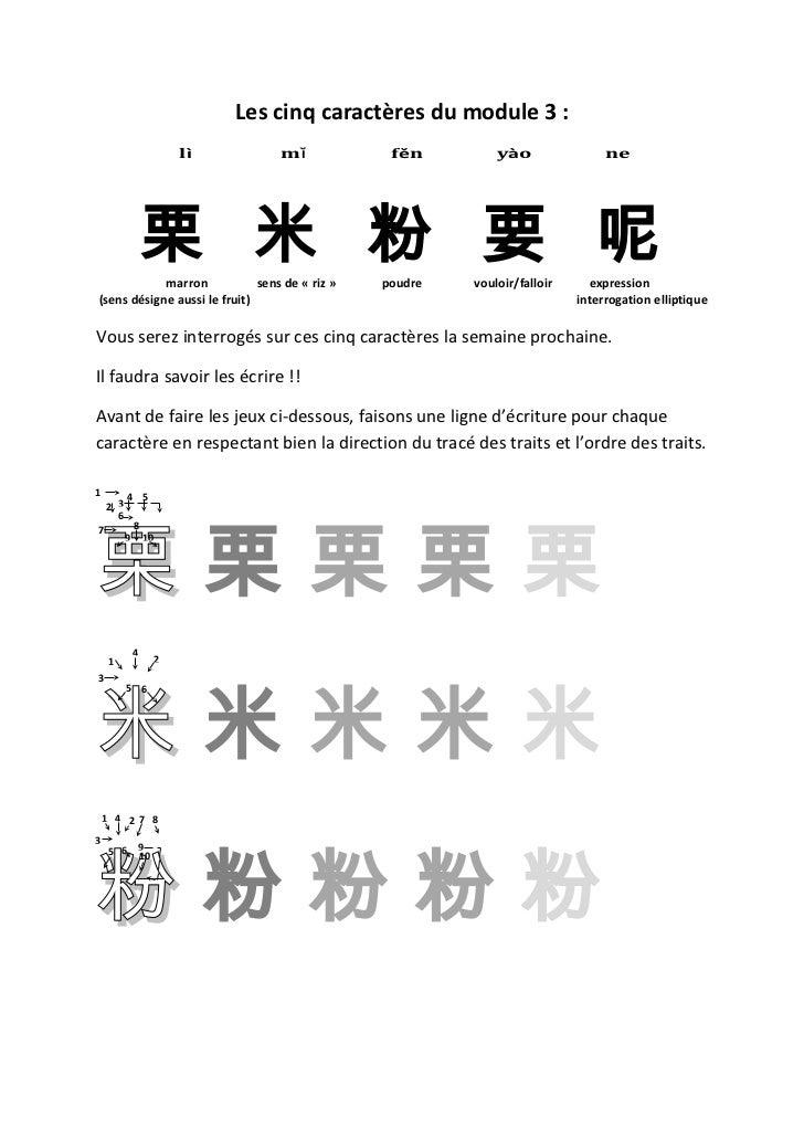 Les cinq caractères du module 3 :                           lì       mǐ           fěn         yào                ne       ...