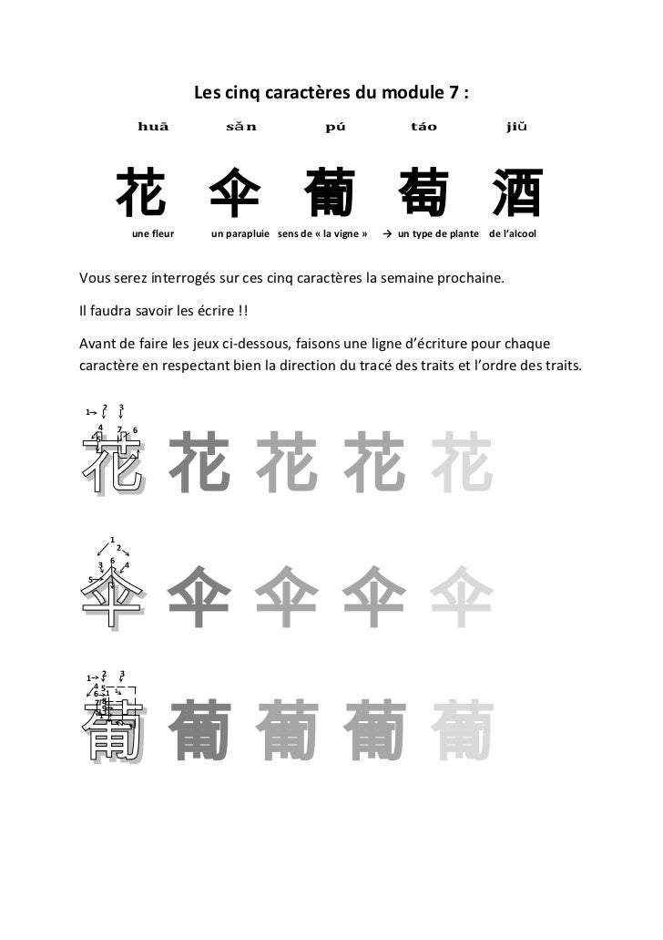 Les cinq caractères du module 7 :                           huā            sǎn                   pú               táo     ...