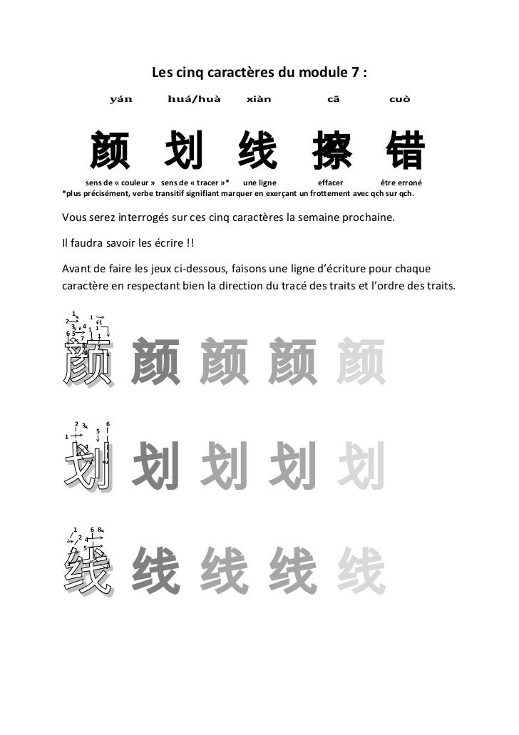 Les cinq caractères du module 7 :                           yán     huá/huà        xiàn                  cā               ...