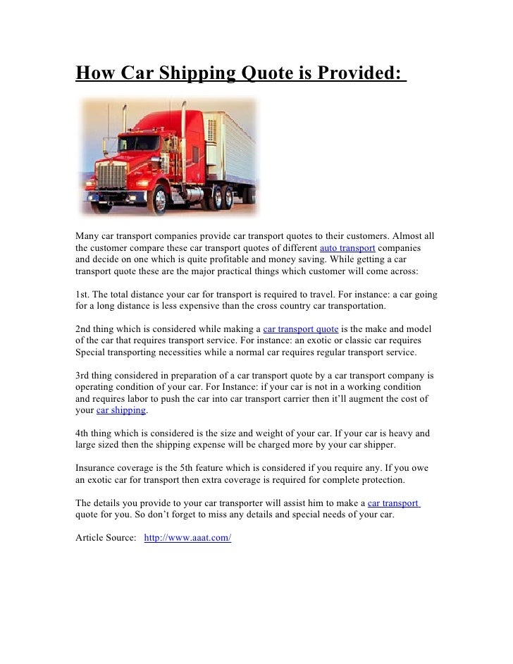 Car Shipping Quotes >> How Car Shipping Quote Is Provided