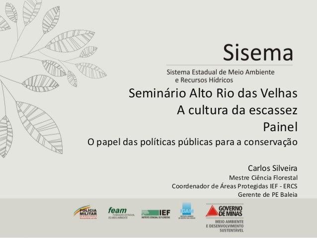 Seminário Alto Rio das Velhas A cultura da escassez Painel O papel das políticas públicas para a conservação Carlos Silvei...