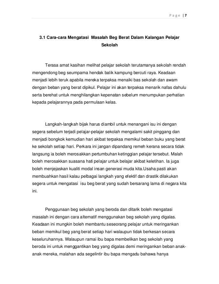 Page |7       3.1 Cara-cara Mengatasi Masalah Beg Berat Dalam Kalangan Pelajar                                     Sekolah...