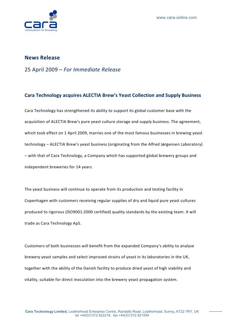 www.cara-online.com     News Release 25 April 2009 – For Immediate Release    Cara Technology acquires ALECTIA Brew's Yeas...