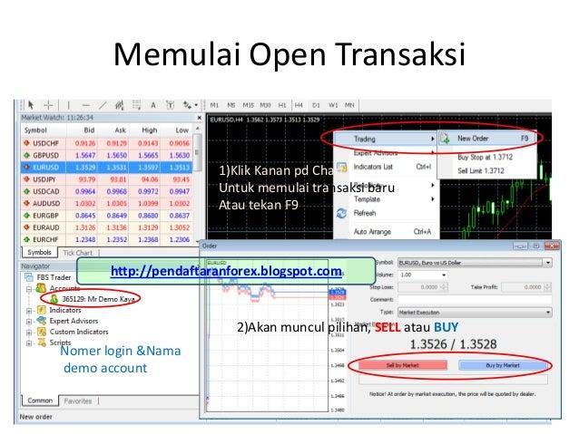 Memulai Open TransaksiNomer login &Namademo account1)Klik Kanan pd ChartUntuk memulai transaksi baruAtau tekan F92)Akan mu...