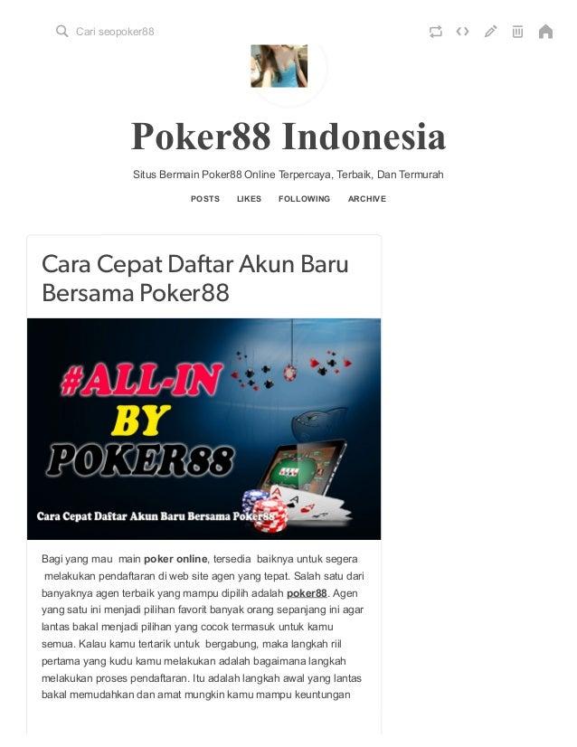 Cara Cepat Daftar Akun Baru Bersama Poker88