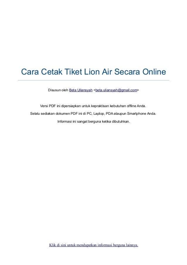 Cara Cetak Tiket Lion Air Secara Online