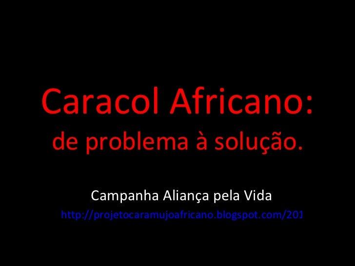 Caracol Africano: de problema à solução. Campanha Aliança pela Vida http://projetocaramujoafricano.blogspot.com/2011/10/ne...