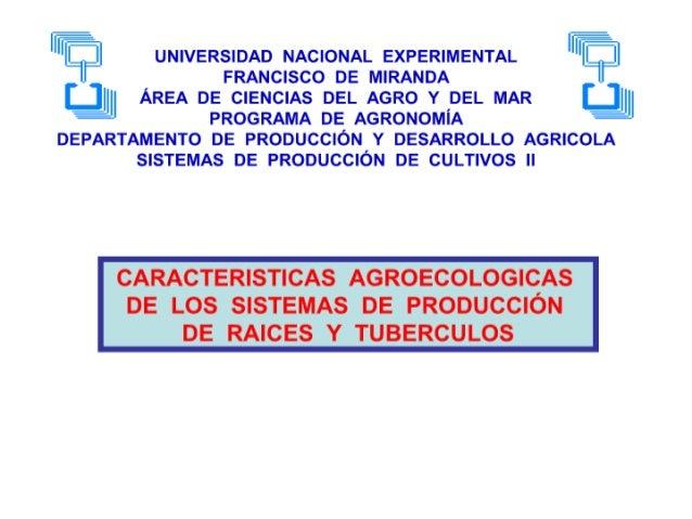 Caracteristicas agroecologicas  de los sistemas de produccion