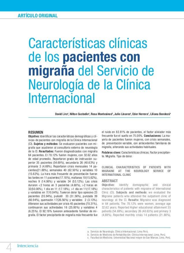ARTÍCULO ORIGINAL        Características clínicas        de los pacientes con        migraña del Servicio de        Neurol...