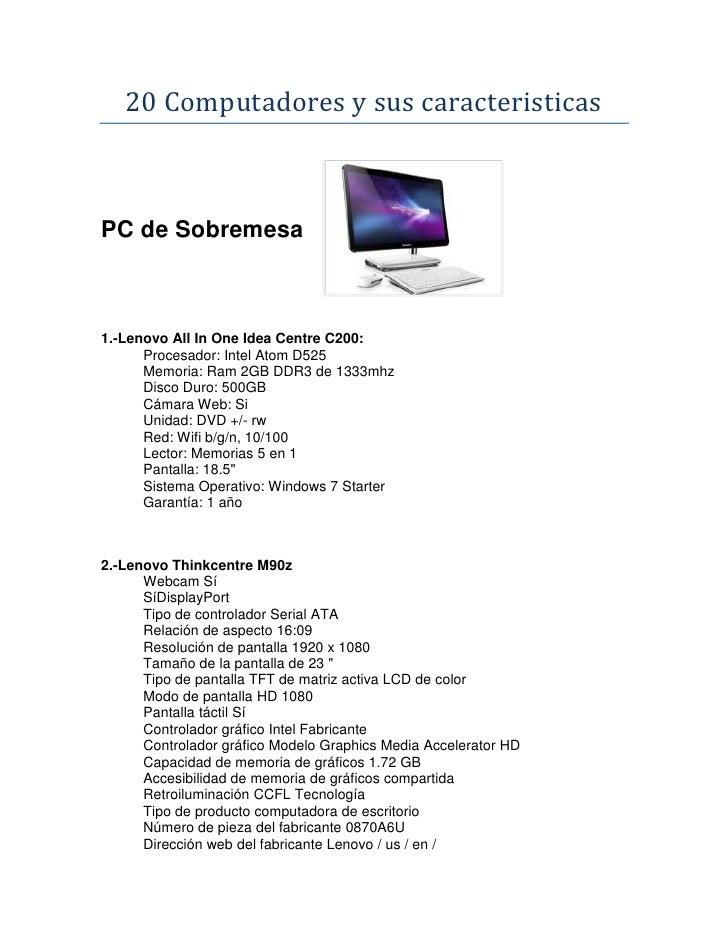 Caracteristicas de 20 equipos de computo for La oficina caracteristicas