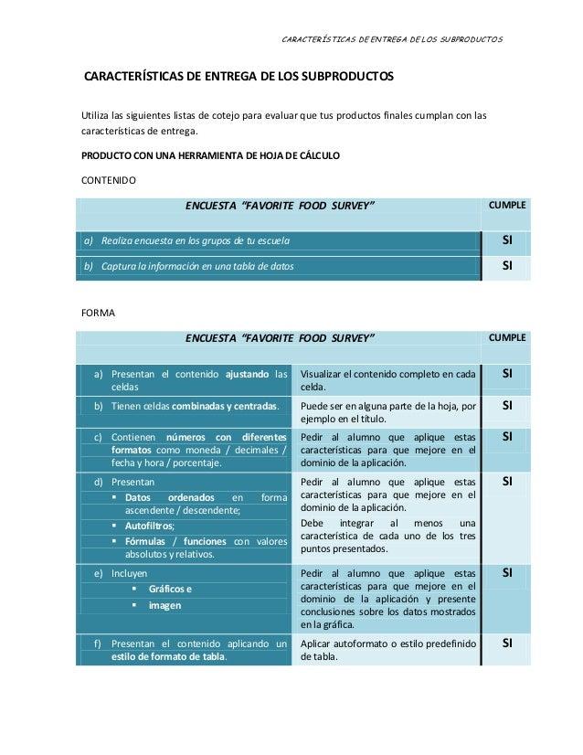CARACTERÍSTICAS DE ENTREGA DE LOS SUBPRODUCTOSCARACTERÍSTICAS DE ENTREGA DE LOS SUBPRODUCTOSUtiliza las siguientes listas ...