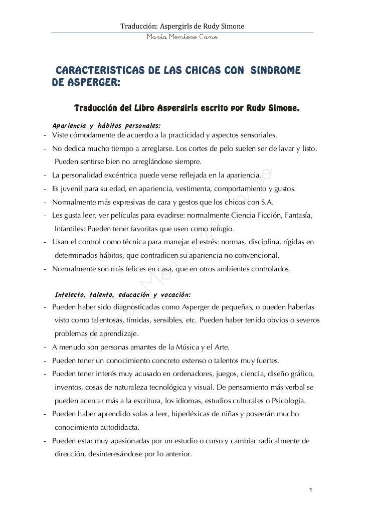 Traducción: Aspergirls de Rudy Simone                                          Marta Montoro Cano       C ...