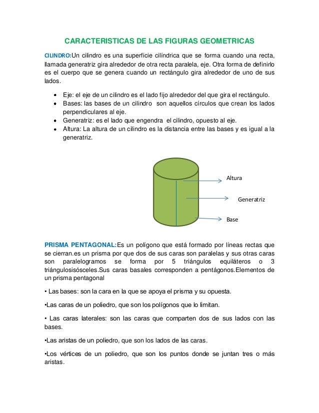 CARACTERISTICAS DE LAS FIGURAS GEOMETRICASCILINDRO:Un cilindro es una superficie cilíndrica que se forma cuando una recta,...